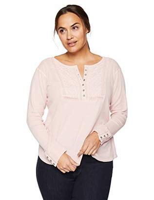 Lucky Brand Women's Plus Size Novelty BIB Thermal TOP