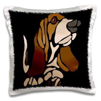 3dRose Funny Artistic Basset Hound Puppy Dog Abstract Art - Pillow Case, 16 by 16-inch