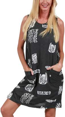 96563c5146 Ingear Beach Summer Shift Dress Short Cotton Tank Dress Cover Up (, Grey)