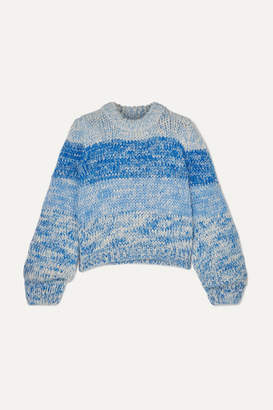 Ganni Striped Mohair And Wool-blend Sweater - Blue