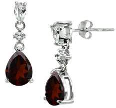 Lord & Taylor Sterling Silver & Garnet Drop Earrings