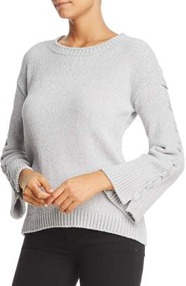 Heather B Lace-Up Bell Sleeve Chenille Sweater - 100% Exclusive