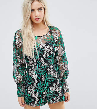 Asos Embroidered Mesh Romper