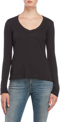 James Perse Relaxed V-Neck Long Sleeve Tee