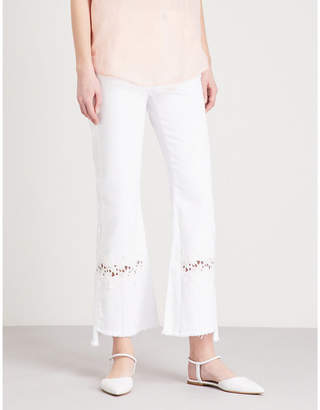 Sandro Lace-embroidered flared high-rise jeans