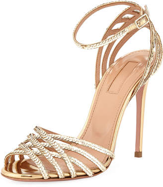 Aquazzura Studio Sequin Metallic Leather Sandal with Ankle Strap