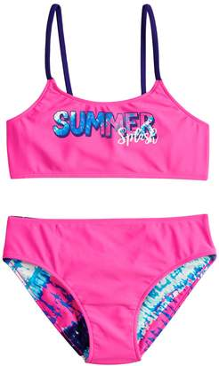 So Girls 7-16 SO Summer Splash & Tie Dye Reversible Bikini Top & Bottoms Swimsuit Set