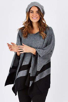 NEW Moda Immagine Womens Ponchos Kerry Knit Size OneSize GreyBlack