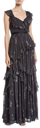 Needle & Thread Lurex® Butterfly Tiered Ruffle Gown