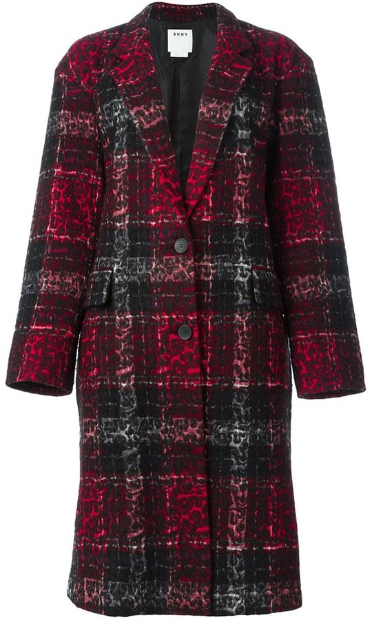 DKNYDKNY checked leopard embossed coat