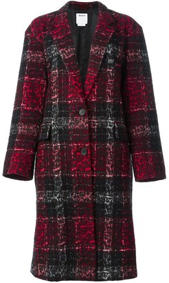 DKNY checked leopard embossed coat $1,476 thestylecure.com