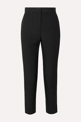 Rosetta Getty Cropped Satin-crepe Tapered Pants - Black