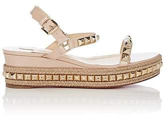Christian Louboutin Women's Cataclou Studded Platform Espadrille Sandals - Nude, Light gold