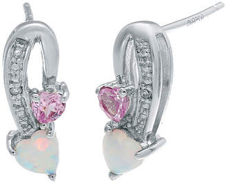 FINE JEWELRY Lab-Created Opal and Pink Sapphire Sterling Silver Double-Heart Earrings
