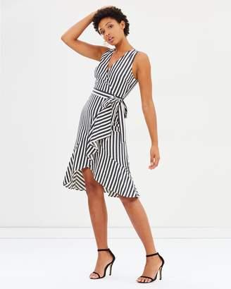 Warehouse Cotton Stripe Wrap Dress
