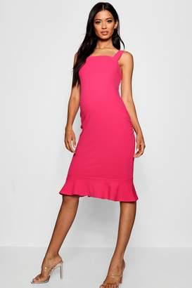 boohoo Maternity Strappy Frill Hem Multi Dress