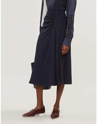 Sportmax Sahara high-waist pleat-panelled satin midi skirt