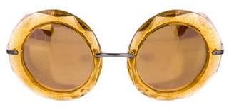 Dolce & Gabbana Glitter Round Sunglasses