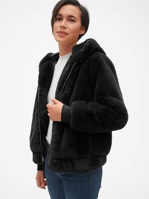 Gap Hooded Faux-Fur Jacket