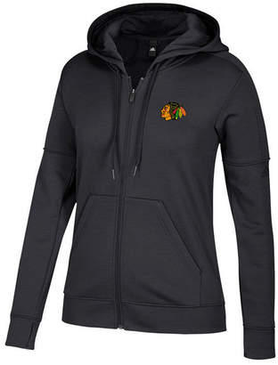 adidas Women's Chicago Blackhawks Logo Stitched Full-Zip Hooded Sweatshirt