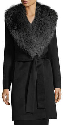 Fleurette Wrap Coat with Silver Fox Collar