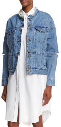 Public School Dani Cutout Denim Jacket, Blue $525 thestylecure.com