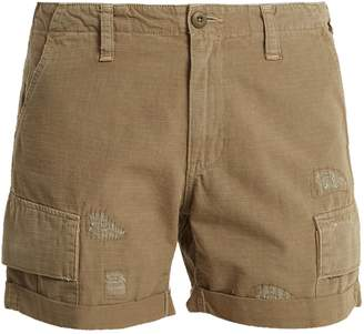 RE/DONE ORIGINALS Distressed cotton-ripstop shorts