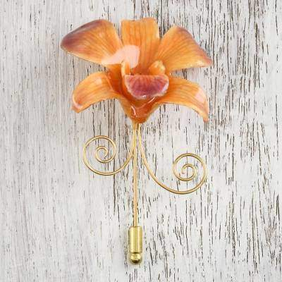 Garden Sunset Orange and Purple Gold-Plated Natural Orchid Stickpin