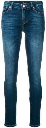 7 For All Mankind washed distressed skinny jeans