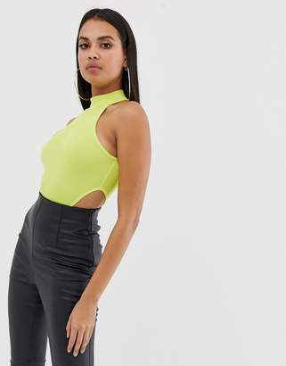 PrettyLittleThing high neck extreme high leg body in neon yellow