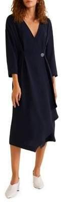 MANGO V-Neck Midi Wrap Dress