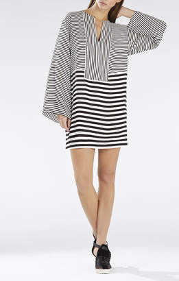 BCBGMAXAZRIA Amilia Kimono-Sleeve Stripe-Blocked Dress