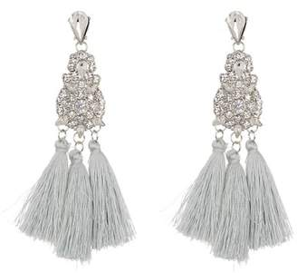 Leslie Danzis Large Statement Crystal Tassel Earrings