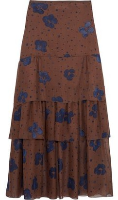 See by Chloe Tiered Printed Silk-Chiffon Maxi Skirt