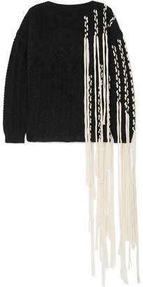 Loewe Fringed Cable-knit Wool-blend Sweater - Black