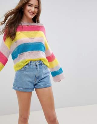 Asos DESIGN stripe sweater in open knit