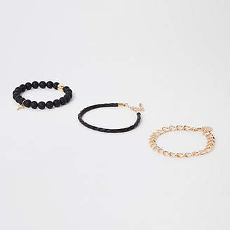 River Island Mens Black bead and gold chain bracelet pack