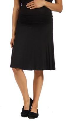 24/7 Comfort Apparel Women's Maternity Plus Foldover Skirt