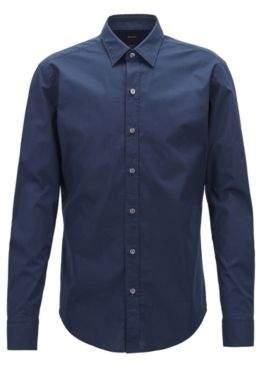 BOSS Hugo Slim-fit shirt in stretch-cotton poplin L Open Blue