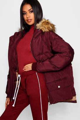 boohoo Faux Fur Trim Hood Puffer Jacket