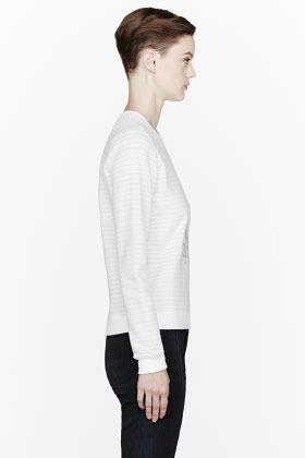 Kenzo Ivory striped silver Eiffel Tower embroidered sweatshirt