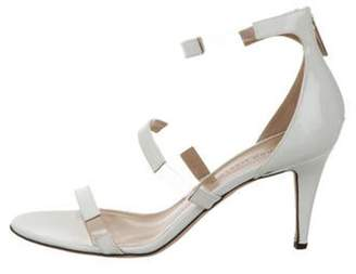 Tabitha Simmons Patent Leather Ankle Strap Sandals White Patent Leather Ankle Strap Sandals