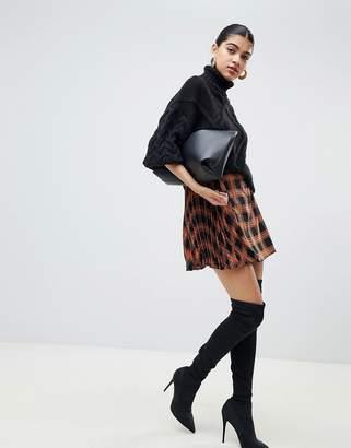 Fashion Union Pleated Mini Skirt In Check