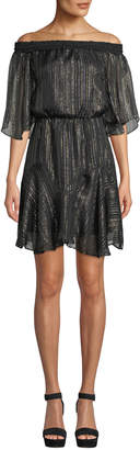 Halston Smocked Off-the-Shoulder Metallic Chiffon Dress