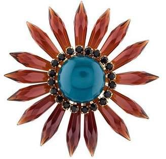 Marni Resin & Crystal Flower Brooch