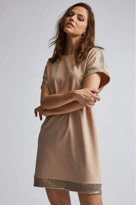 Dorothy Perkins Womens Honey Sequin Trim Shift Dress - Nude