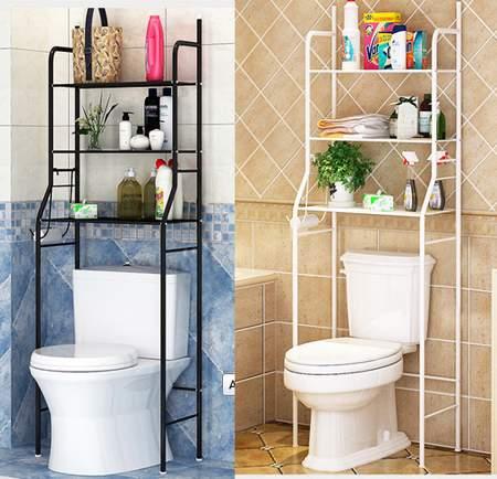 HURRISE 3-Tier Bathroom Over Toilet Shelf,Iron Toilet Towel Storage Rack Holder Over Bathroom Shelf Organizer,Black