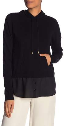 Nicole Miller Knit To Woven Twofer Hoodie