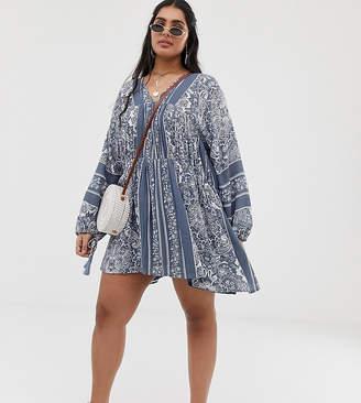 En Creme En CrMe Plus Plus swing dress with drop waist and volume sleeves in paisly print