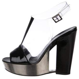 Chanel CC Platform PVC Semi-Wedge Sandals